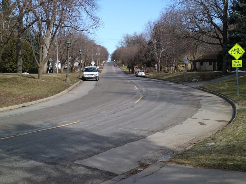 On-road bike routes, St. Paul, Minnesota, United States