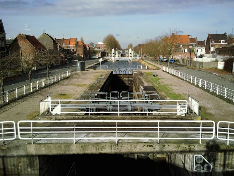 View of Roubaix Canal in Lille, France