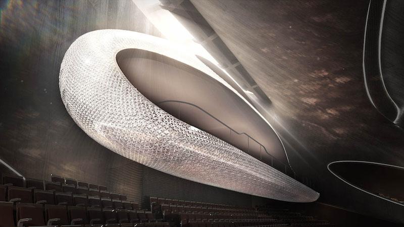 The crystal curtain wall of the Harbin Opera House, Harbin, Heilongjiang, China