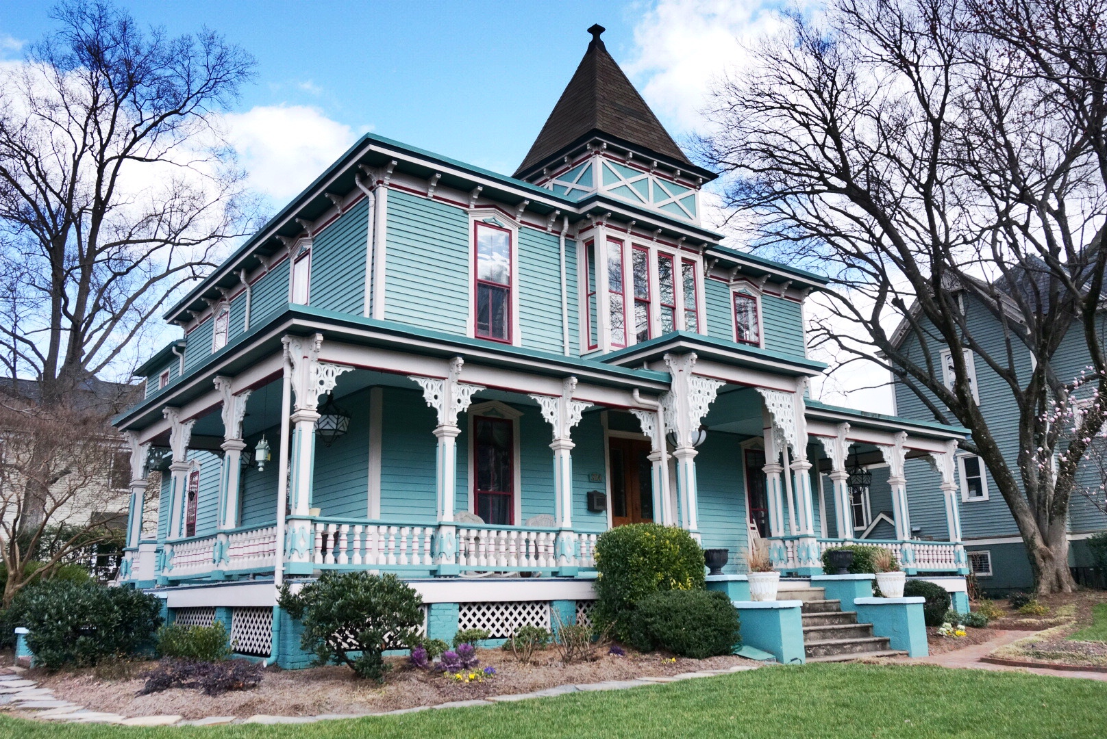 Berryhill House in Charlotte, North Carolina's historic Fourth Ward, 1884, Victorian Italianate style. The Junior League renovated the home in the mid-1970's.