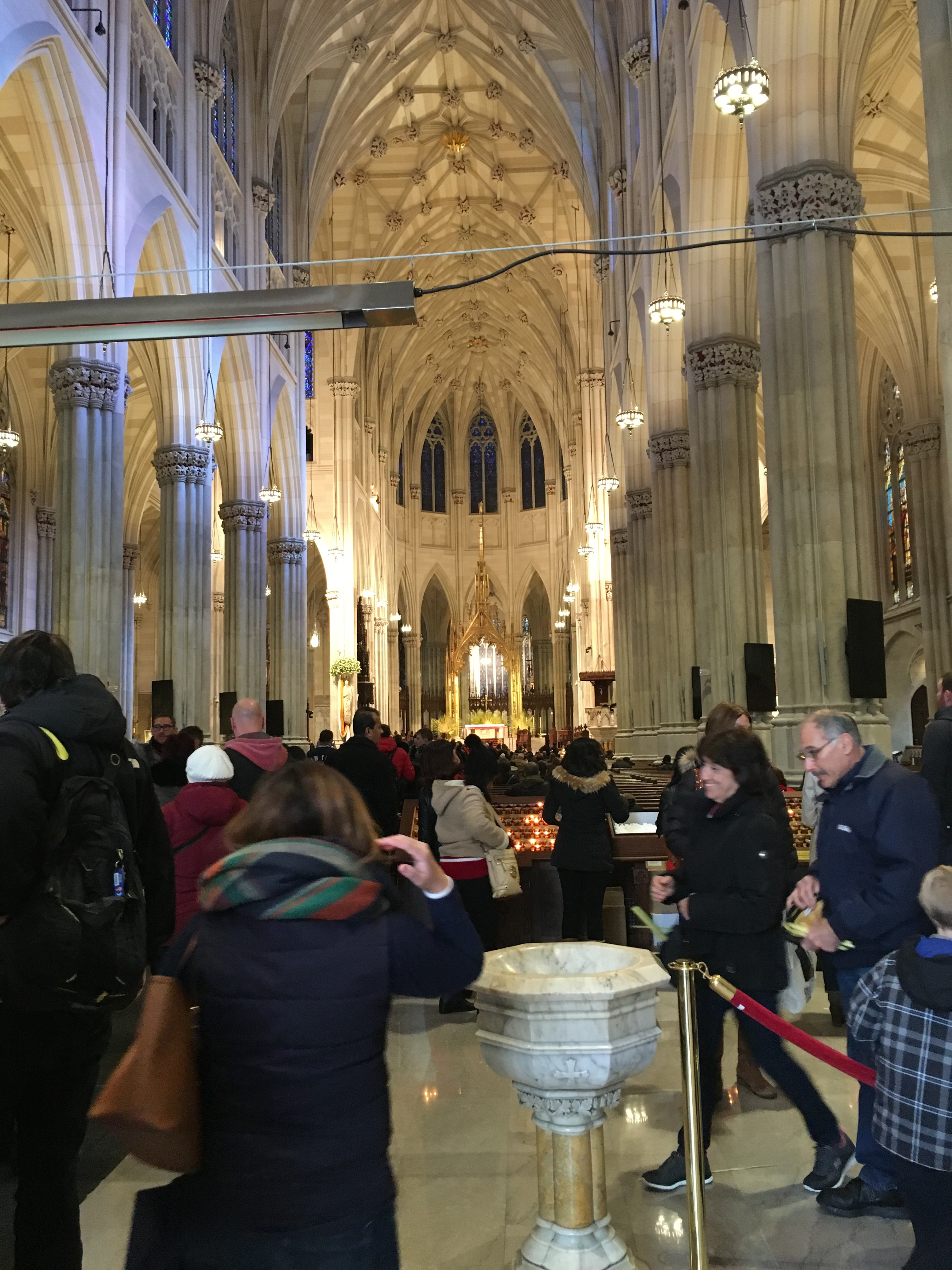 The interior of the St. Patricks Cathedral. The monumentality is on full display upon entering, with its grand arcades and groined vaults. Even today, people from around the world come to see the church.
