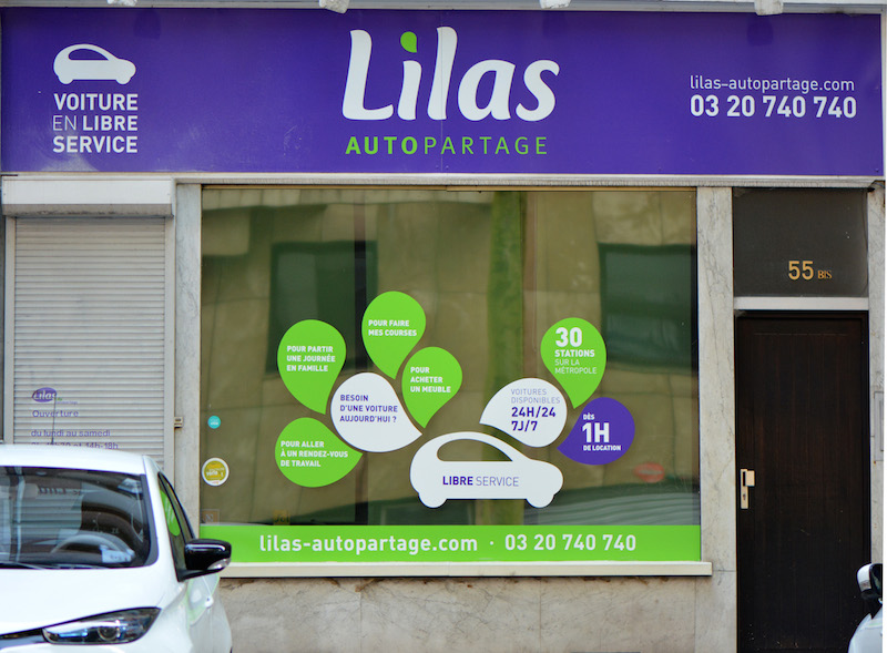 Sign of Lilas AutoPartage in Lille, France