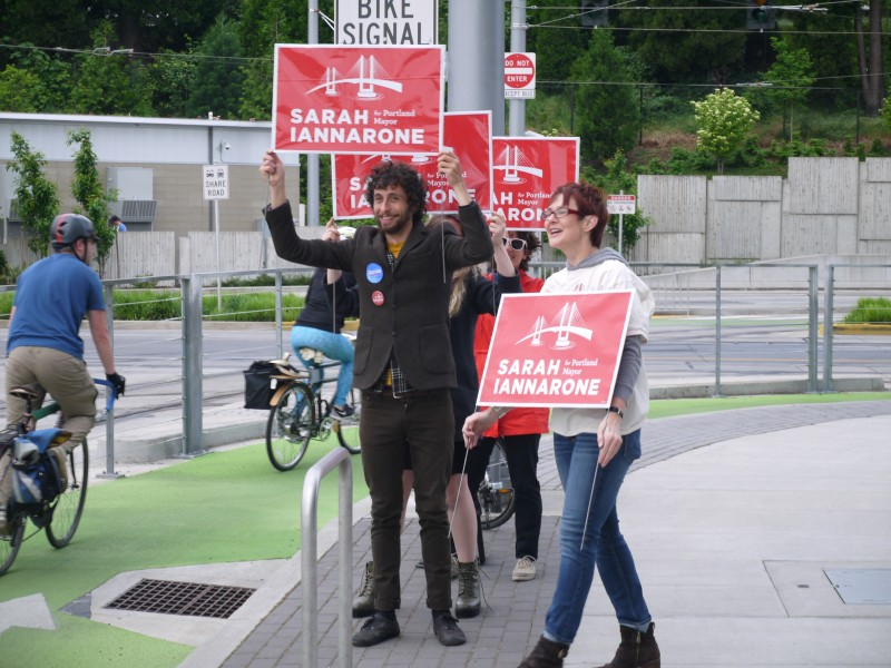 Iannarone and supporters campaigning in Portland, Oregon.