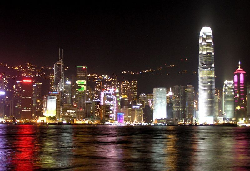 Victoria Harbour at night, Hong Kong, China