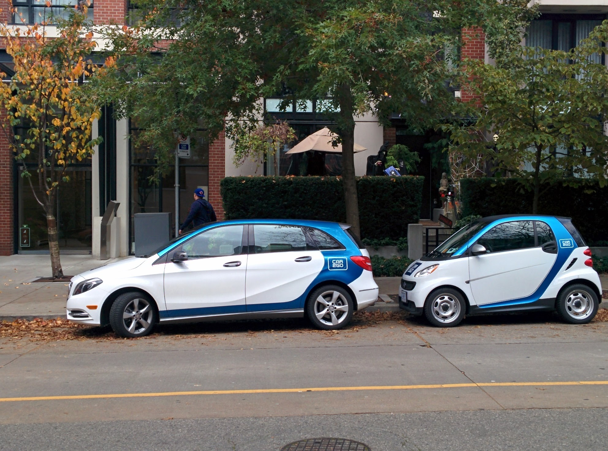 Car2Go 4-door Mercedes-Benz B Class and a 2-door Smart For Two in Downtown Vancouver