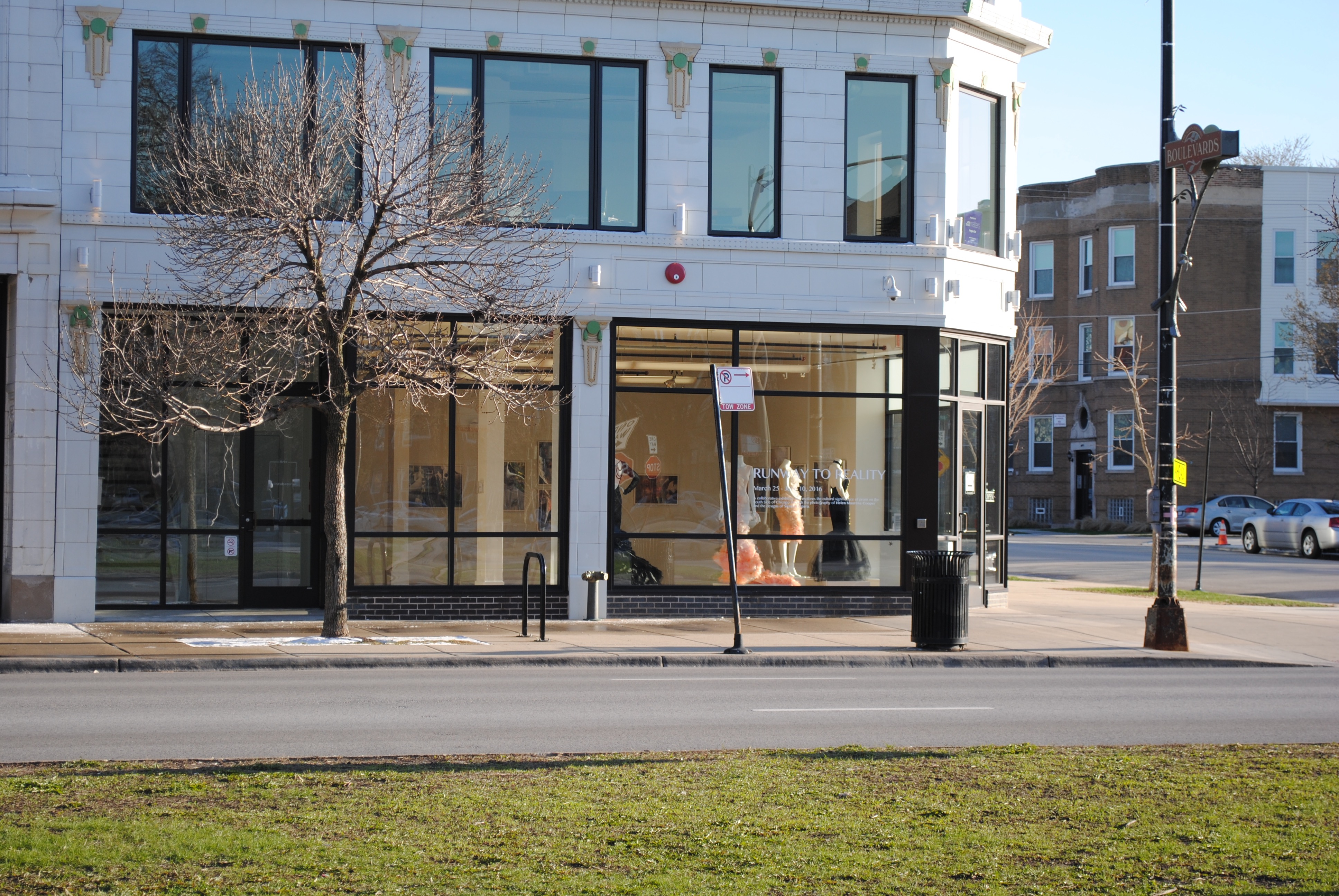 Pictured on a street corner is the Arts Incubator, which is one of the participating businesses in the GHNA program. Arts Incubator, Chicago, Illinois