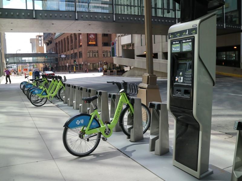 Nice Ride Docking Station In Downtown Minneapolis, Minnesota