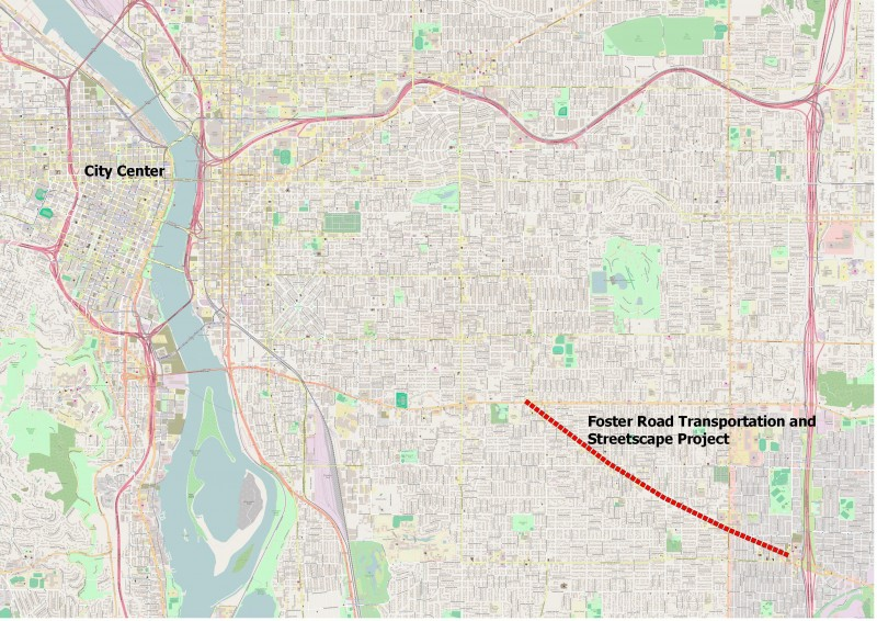 Map of Greater Portland and Foster Road Transportation and Streetscape Project. The project begins approximately five miles south east of the city center.