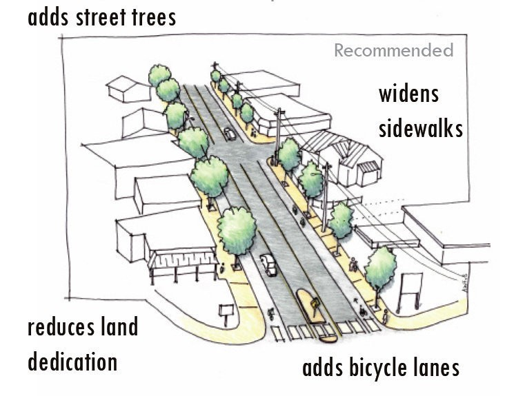 Conceptual design of the Foster Road Transportation and Streetscape Project provided by Portland Bureau of Transportation. The design illustrates how the street will look once construction is complete. The design points out how trees and bicycle lanes will be added, sidewalks will be widened and land dedication will be reduced.