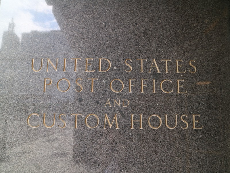 Custom House and U.S. Post Office sign in St. Paul, Minnesota