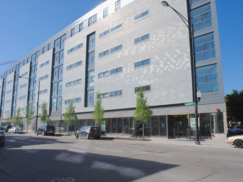 Transit-Oriented Development being built in the Logan Square neighborhood. This building is closer to completion.