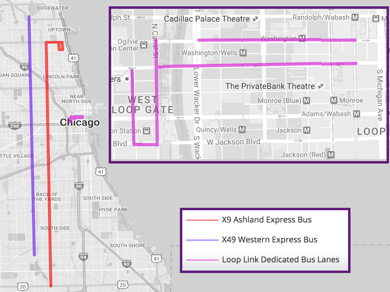 A map of the bus routes detailed in this article. Two are for express busses that travel a long distance North-South, and one is a small set of dedicated bus lanes in the downtown area.
