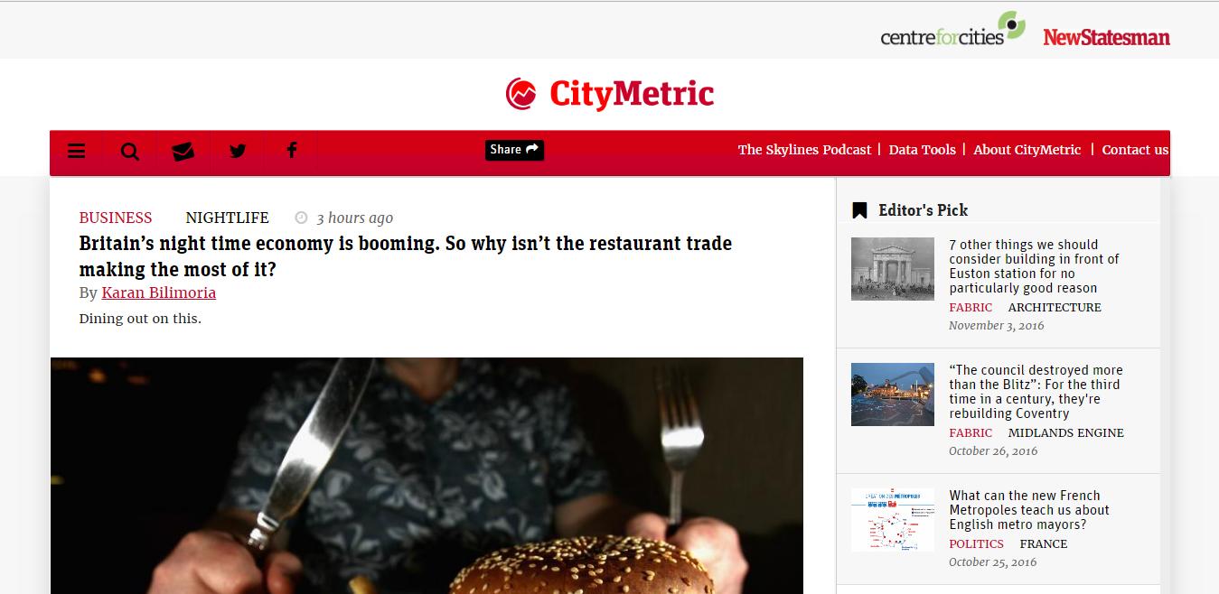 City Metric website homepage