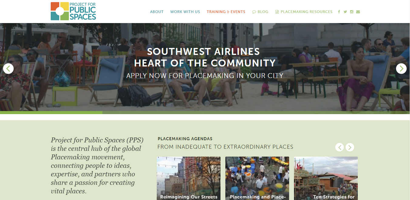 Project for Public Spaces website homepage