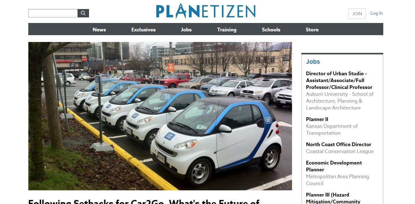 Planetizen website homepage