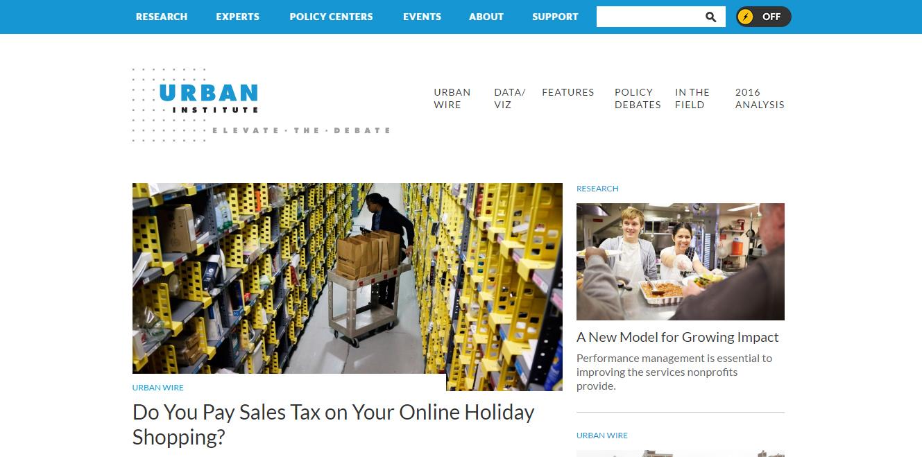 The Urban Institute website homepage