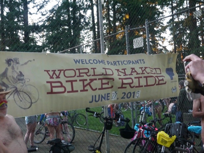 Banner for the World Naked Bike Ride in Portland, Oregon. Editor's Note: The date on the banner is inaccurate. The ride took place June 25, 2016.
