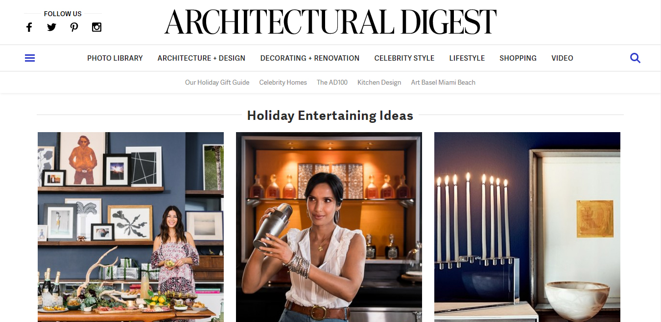 Architectural Digest home page