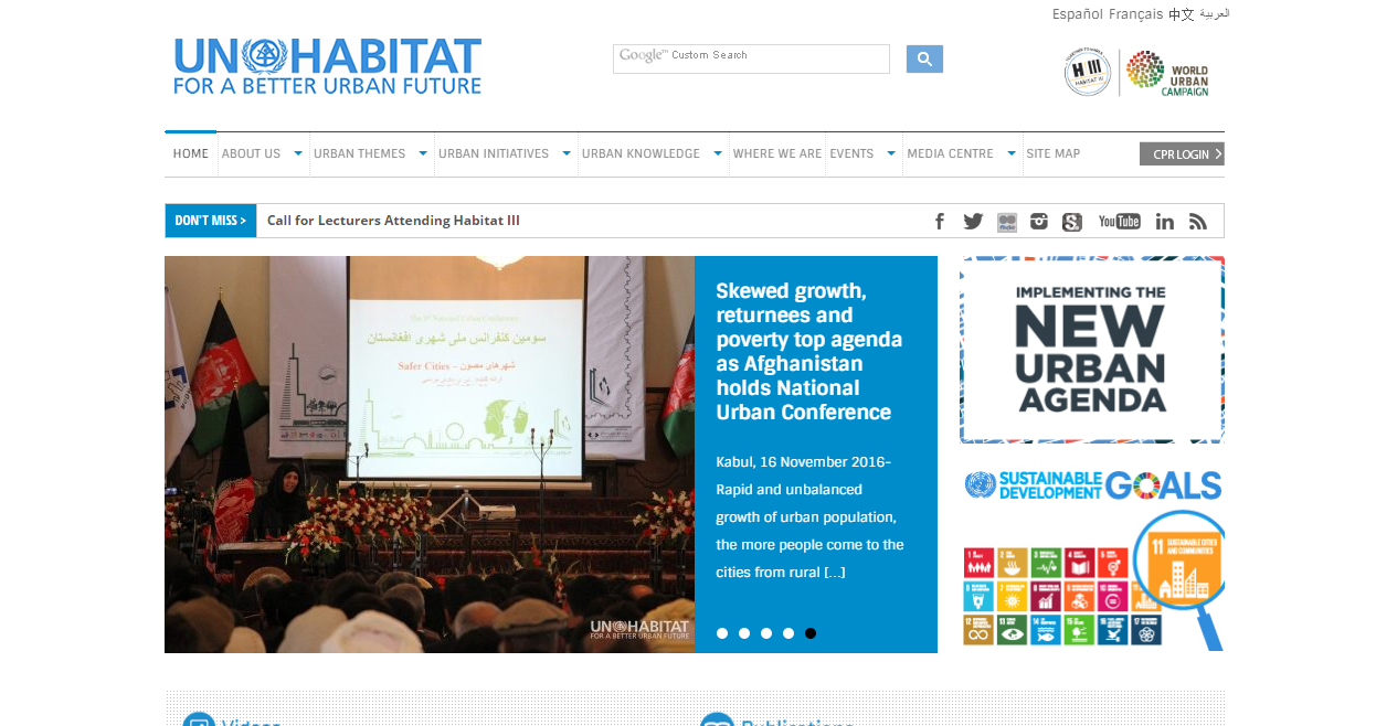 UN-Habitat website homepage