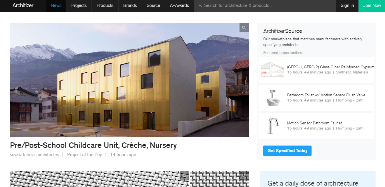 Architizer home page