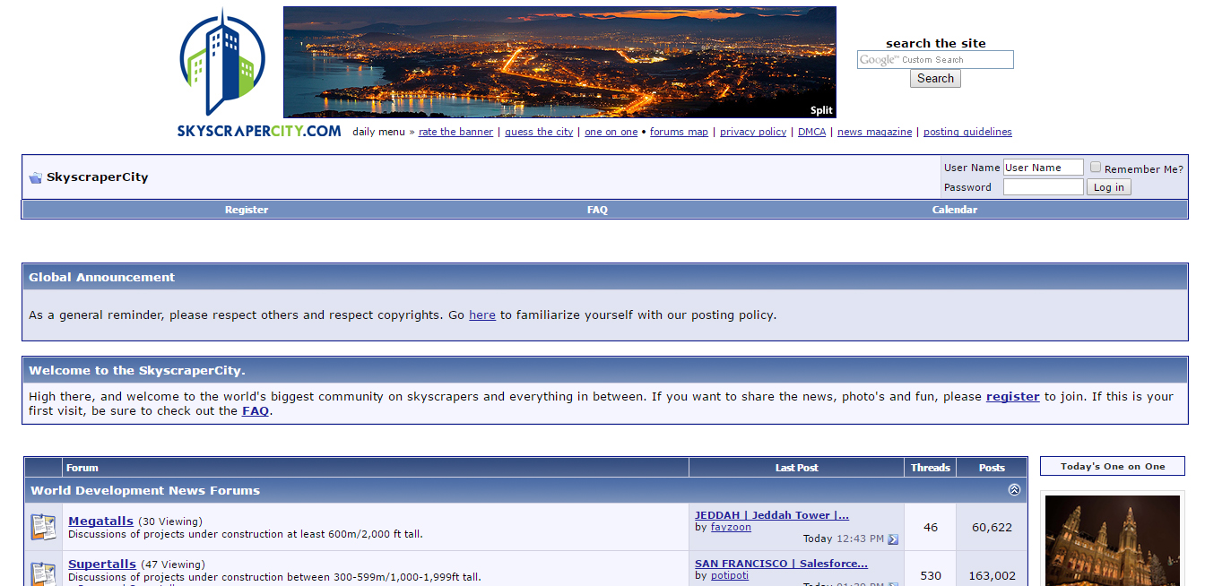 Skyscrapercity home page
