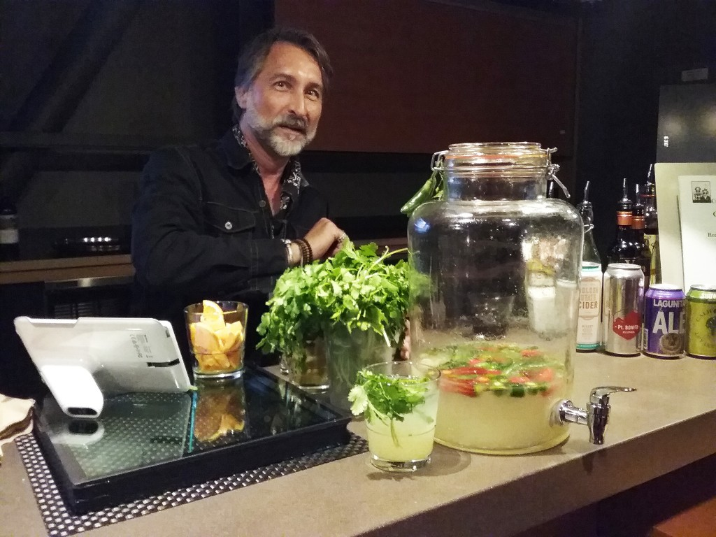 "Steve serving cocktails at the ""Occupy the Farm"" film screening"