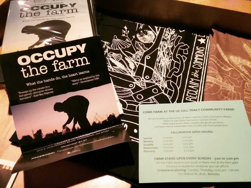 "Information and ""Occupy the Farm"" bandannas"