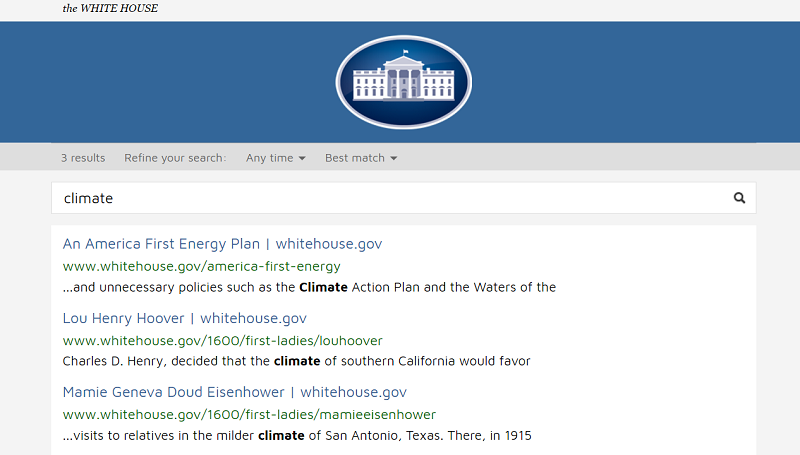 Climate Change search, White House Website, Washington, DC, USA