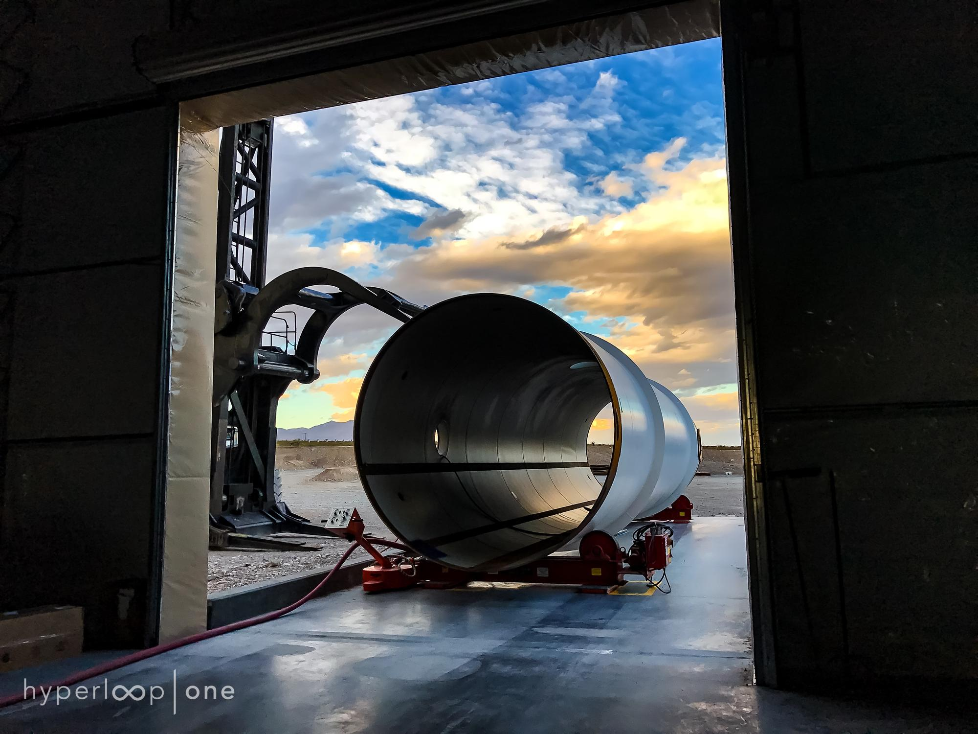 Hyperloop One: A tube awaits entry into the tube processing building, where they are painted and prepped for use.