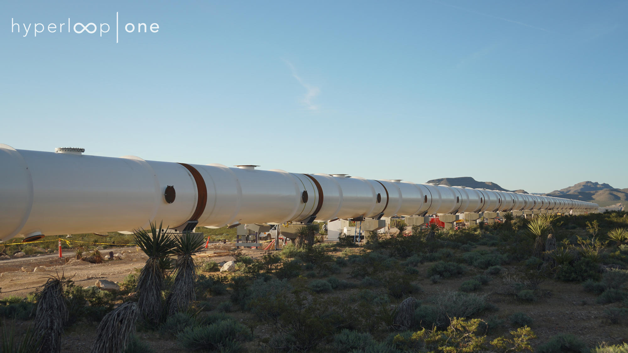 Hyperloop One finished tube installation at DevLoop looking south