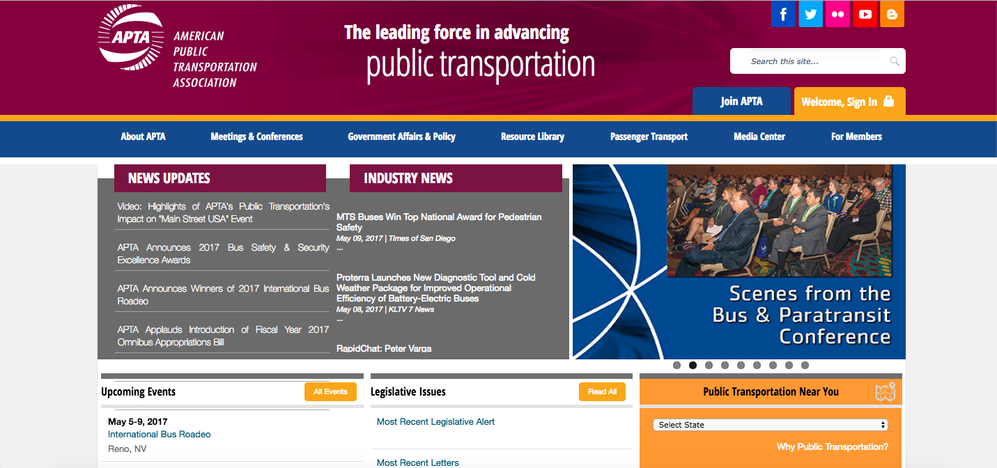 American Public Transportation Association Website Homepage_The Global Grid Top 20 Active Transportation Websites