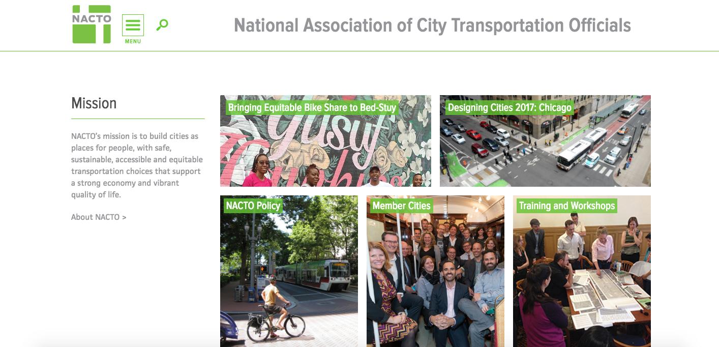 National Association of City Transportation Officials Website Homepage_The Global Grid Top 20 Active Transportation Websites
