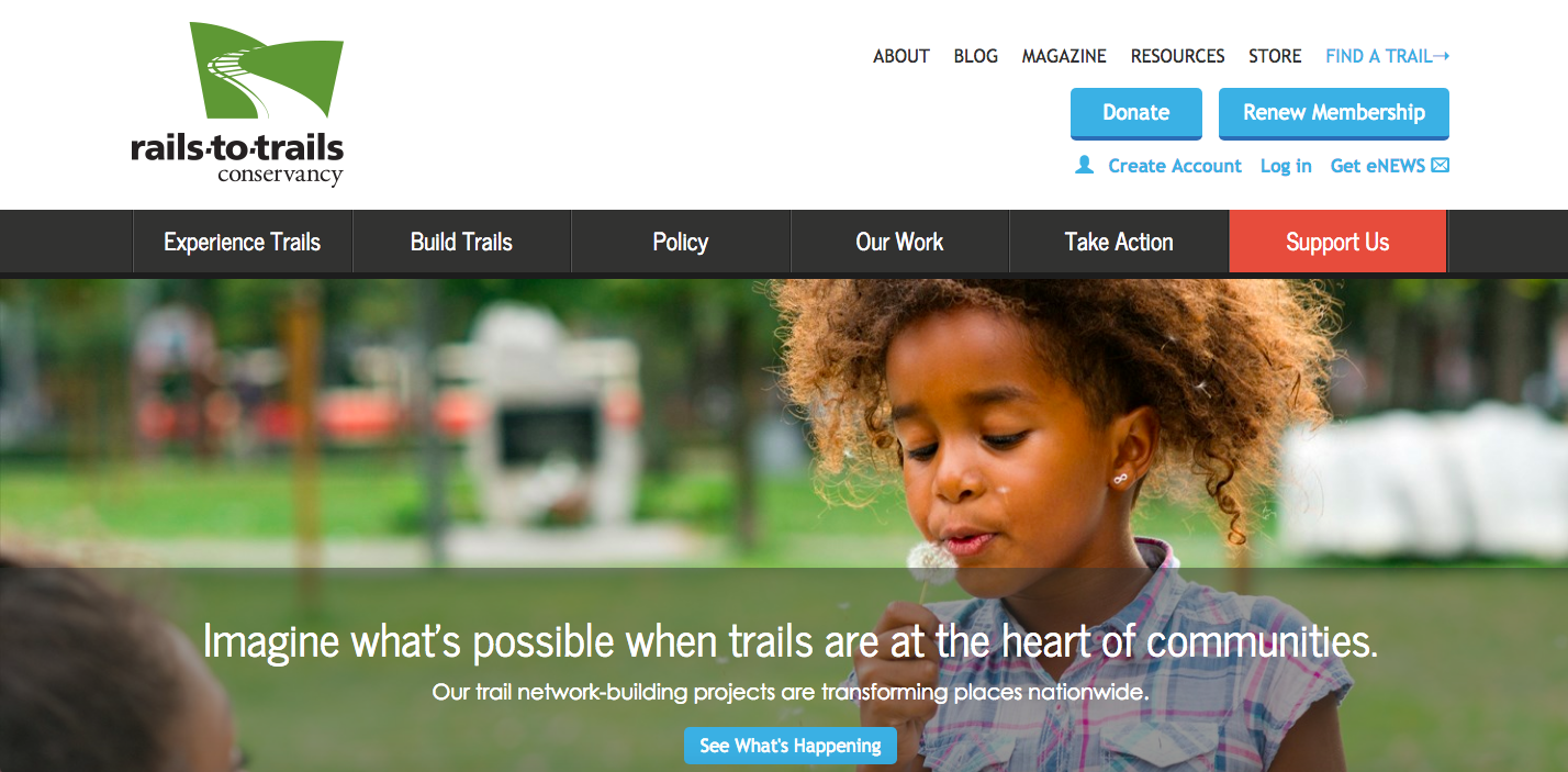 Rails-to-Trails Conservancy Website Homepage_The Global Grid Top 20 Active Transportation Websites 2017