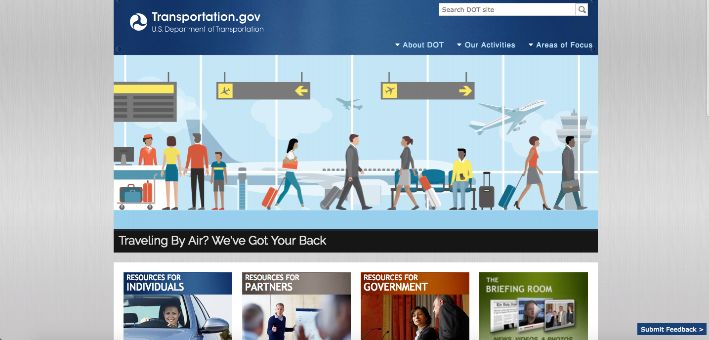 U.S. Department of Transportation 2017 Website Homepage_The Global Grid Top 20 Active Transportation Websites