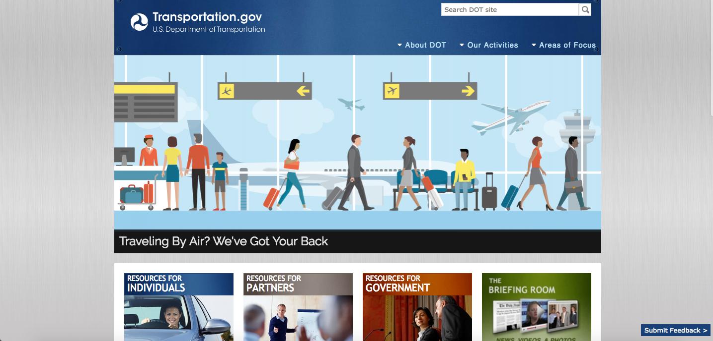 U.S. Department of Transportation 2017 Website Homepage_The Global Grid Top 20 Active Transportation Websites