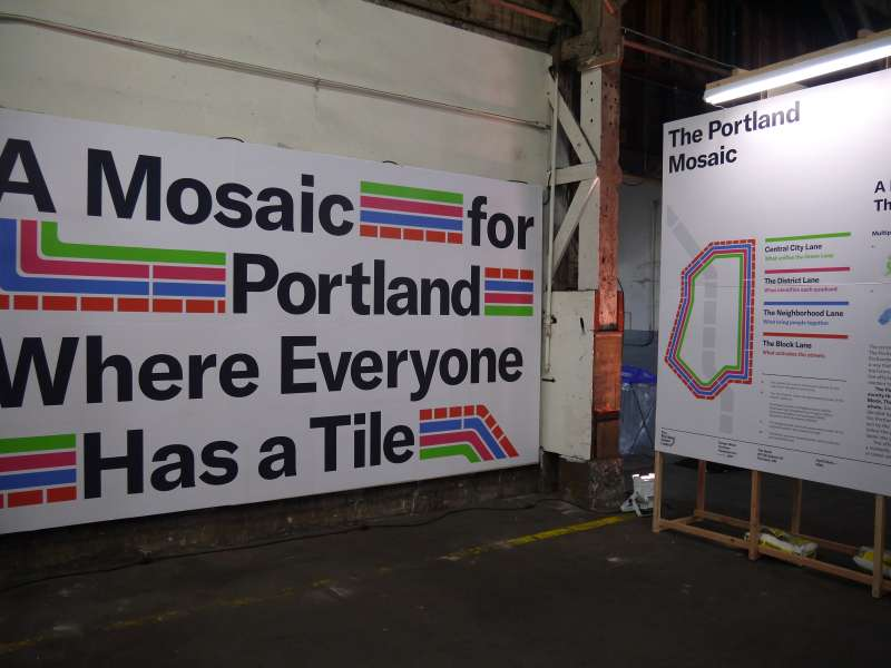 Citizens were greeted at the Portland Mosaic exhibition by signs of encouragement and inclusivity