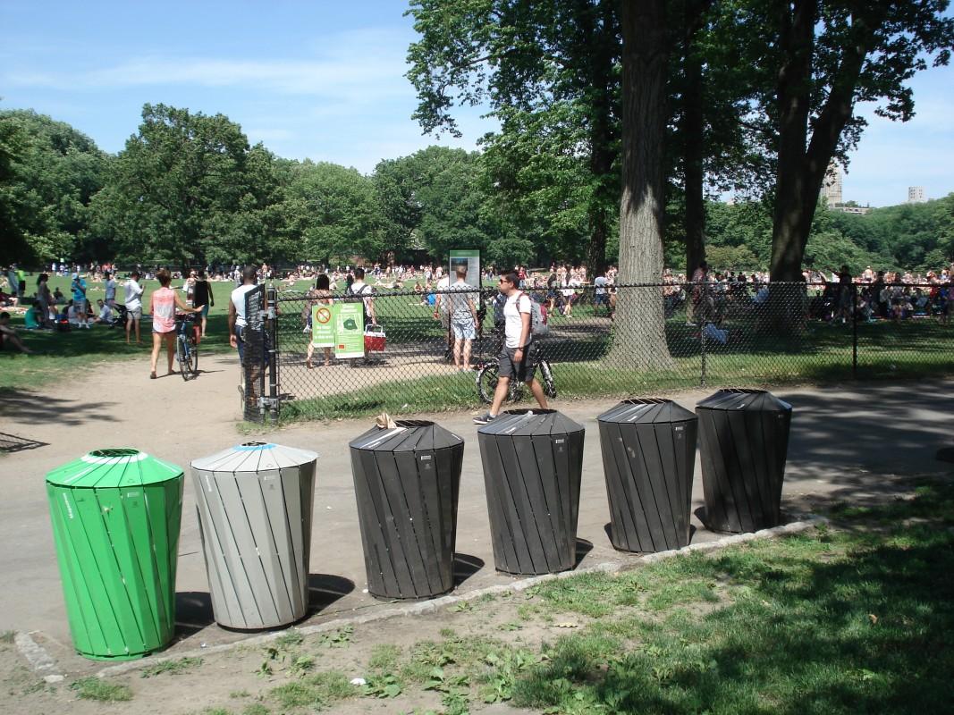 Trash Bins, Central Park, New York City, New York, USA