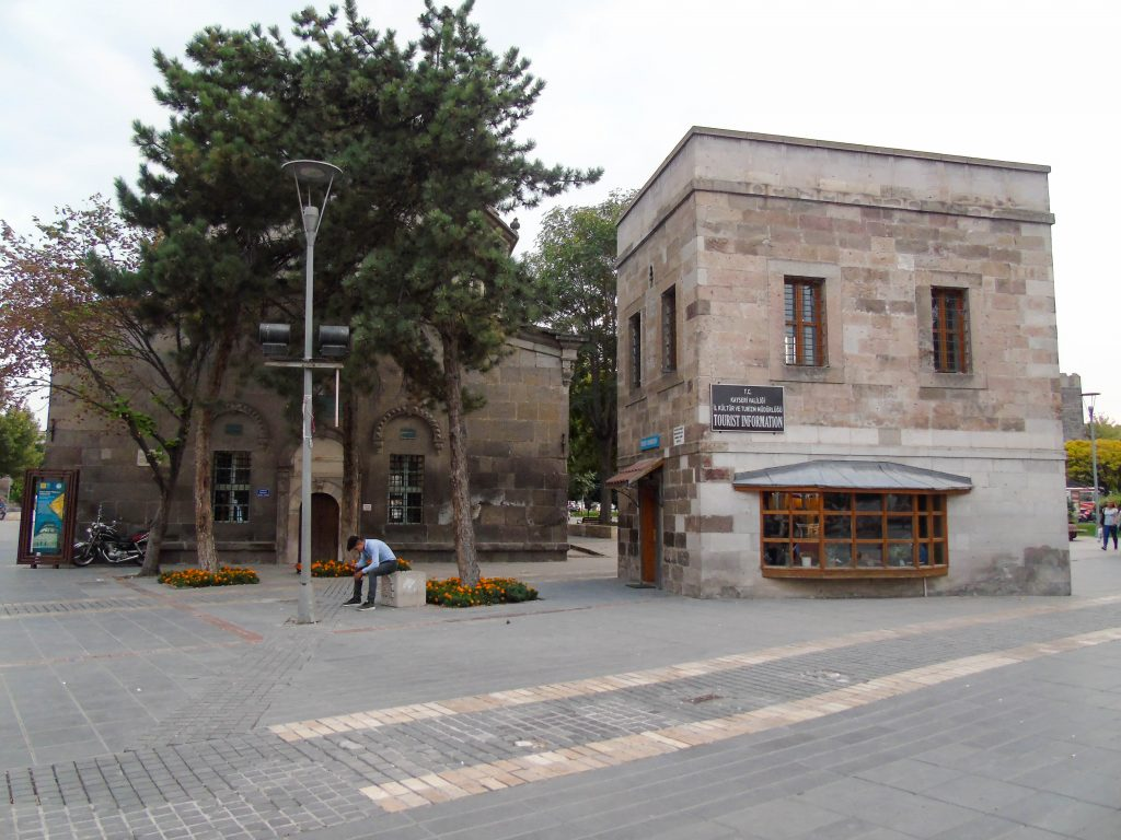 The urban open space of Mahperi Hunat Hatun Complex which comprises of a mosque, a madrasa (theological school), hamam (Turkish bath) and a tomb built by the Seljuks of Rum, Hunat Hatun Külliyesi, Kayseri, Turkey