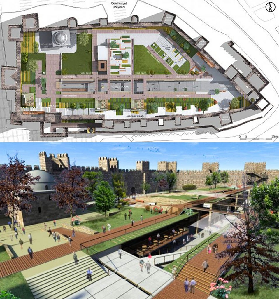 The rendered images of Cultural and Art Center Design Project comprising of a plan and a perspective view, Kayseri Citadel, Kayseri, Turkey