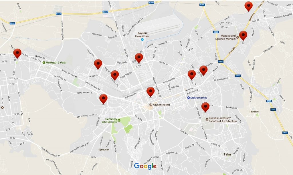 Locations in Kayseri city where urban renewal and redevelopment projects are going to take place. Kayseri, Turkey.