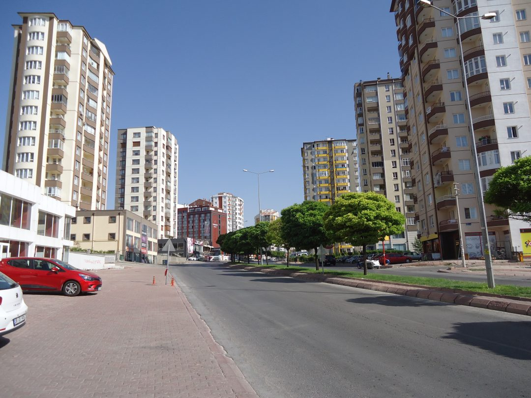 Residential area with high-rise apartments in Talas, Kayseri, Turkey