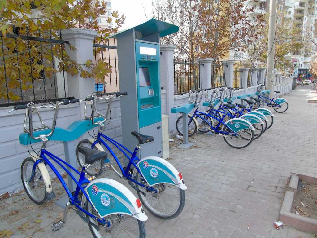 Bike sharing docking station at Anayurt, Kayseri, Turkey