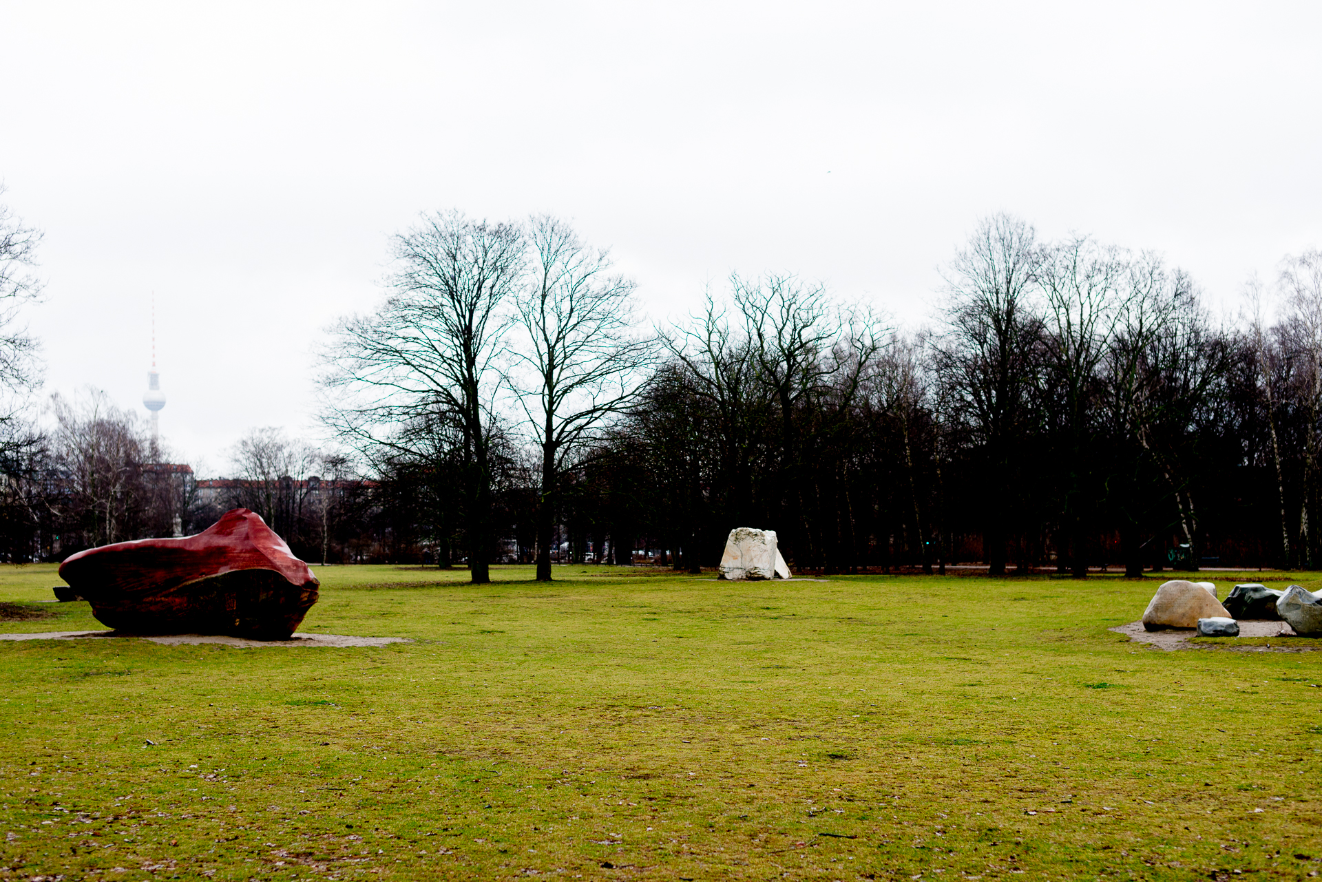 Open green field with massive boulders decorating the middle of Tiergarten Park in Berlin, Germany