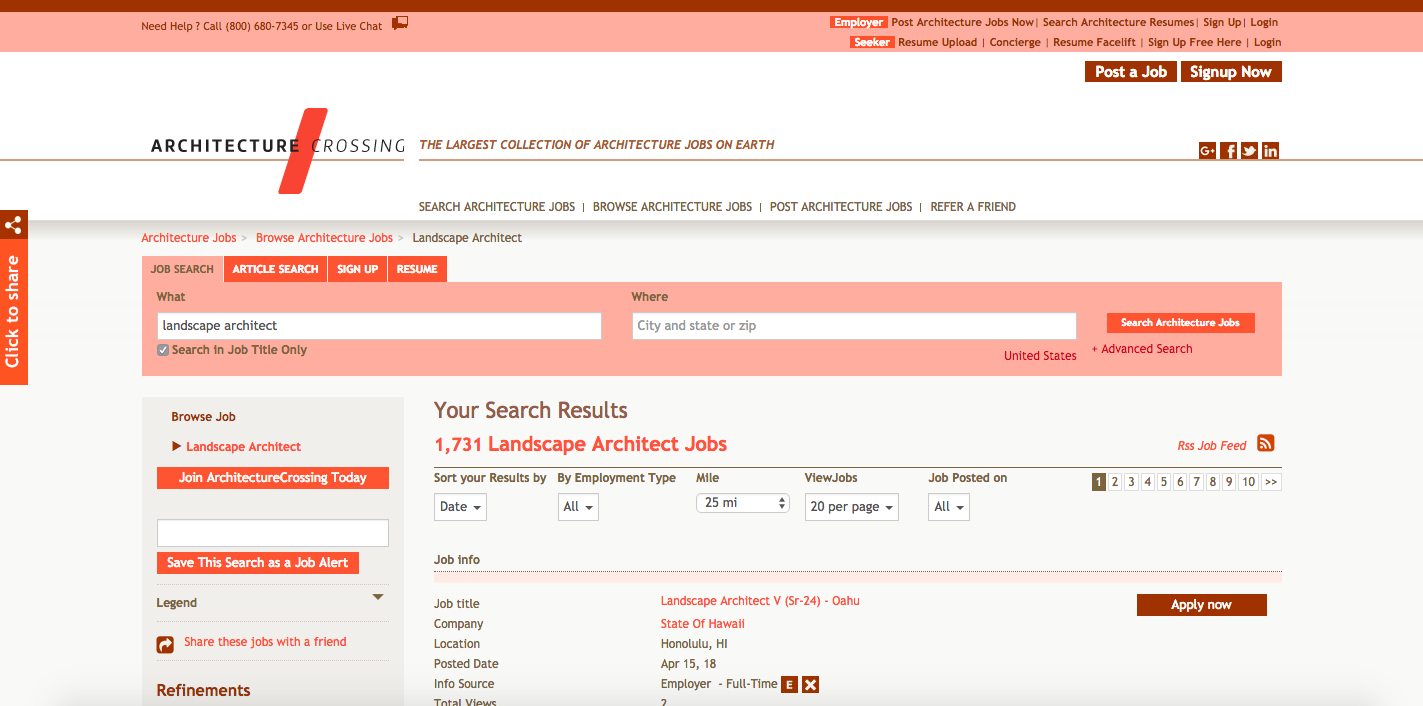Top 10 Landscape Architecture Jobs Search Websites, Architecture Crossing jobs board