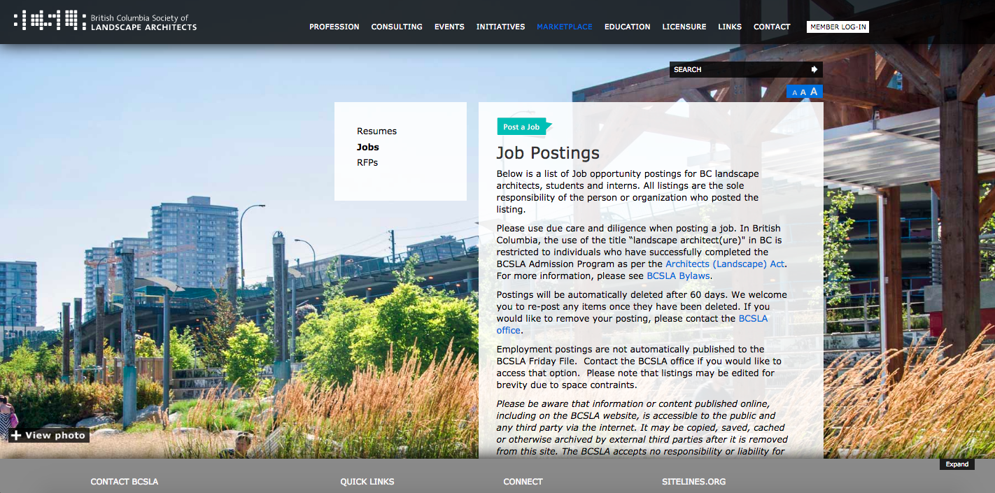Top 10 Landscape Architecture Jobs Search Websites, British Columbia Society of Landscape Architects jobs board