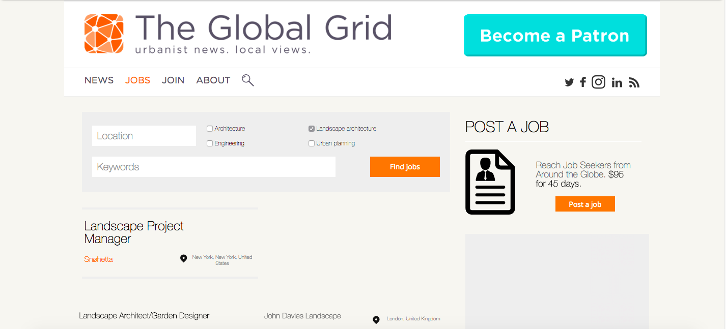Top 10 Landscape Architecture Jobs Search Websites, The Global Grid Jobs