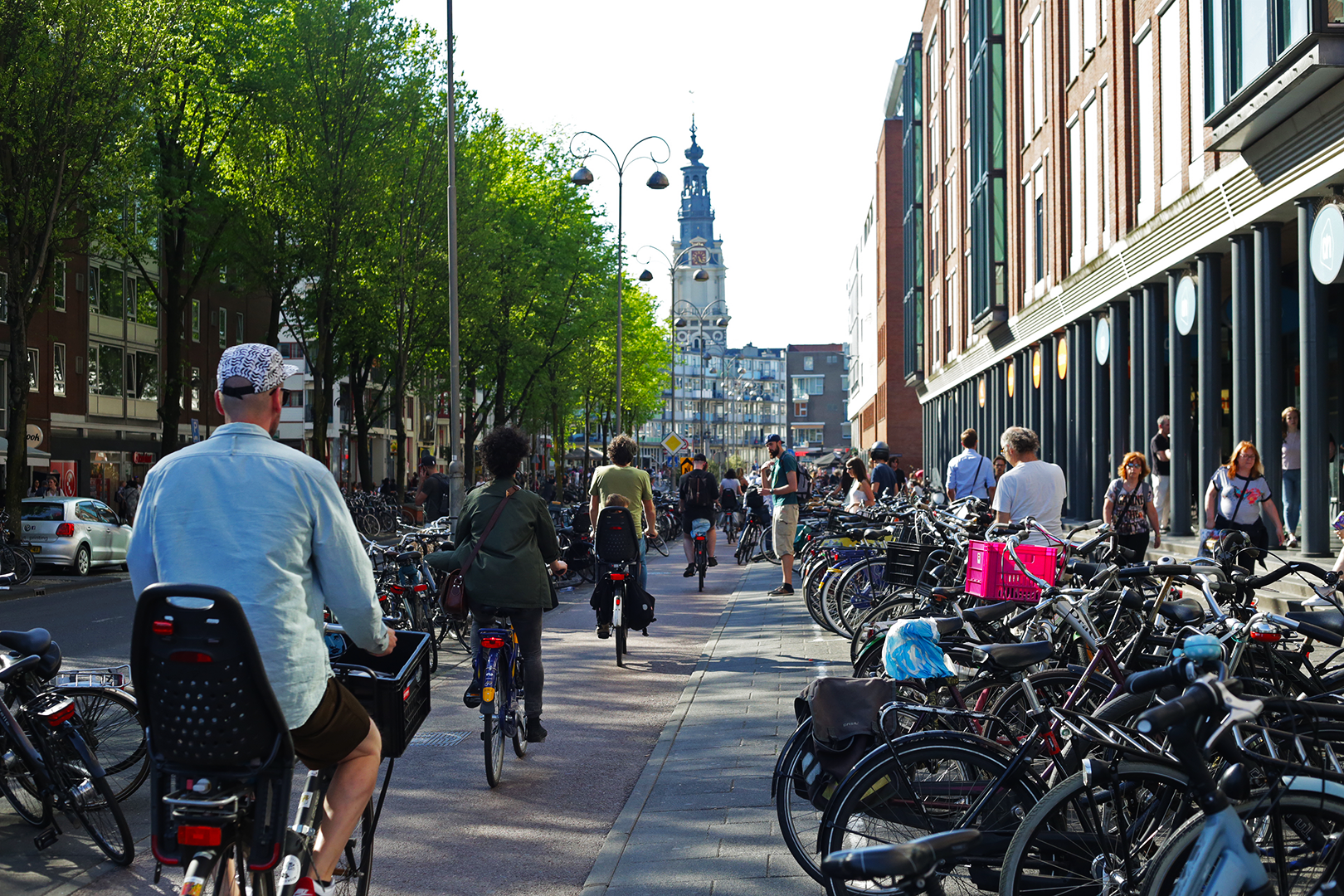 Carving out room for all the bikes to park in Amsterdam is difficult, usually leading to streets packed with bikes like Jodenbreestraat pictured here