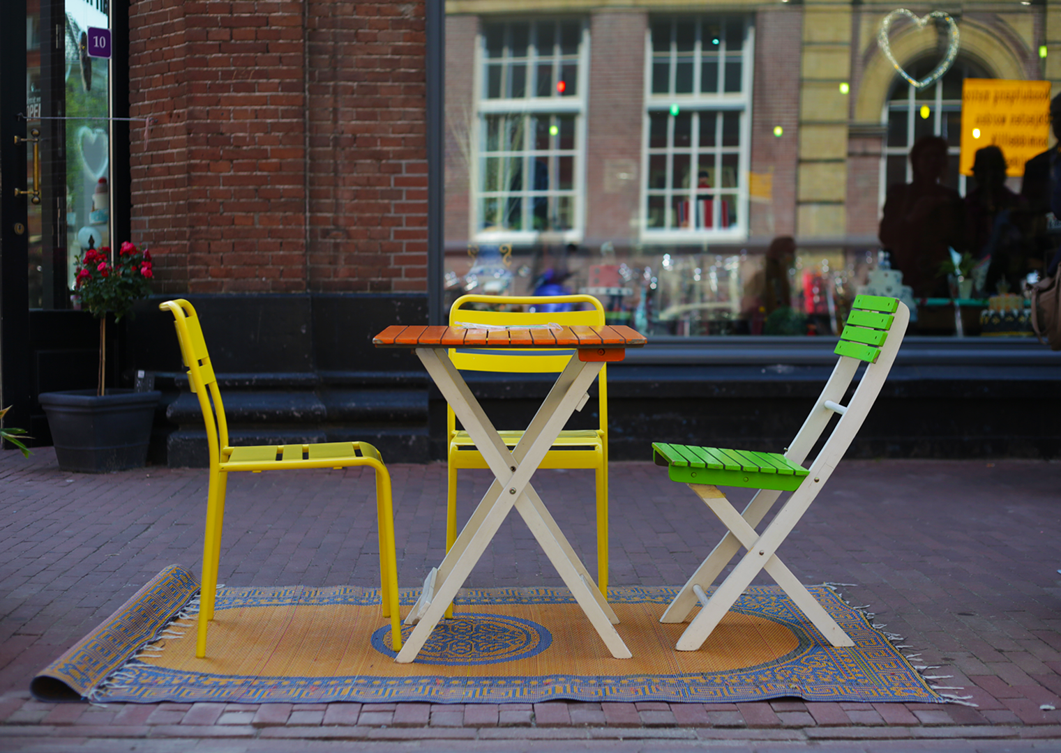 Colorful Street Furniture in De Pijp Amsterdam, the Netherlands