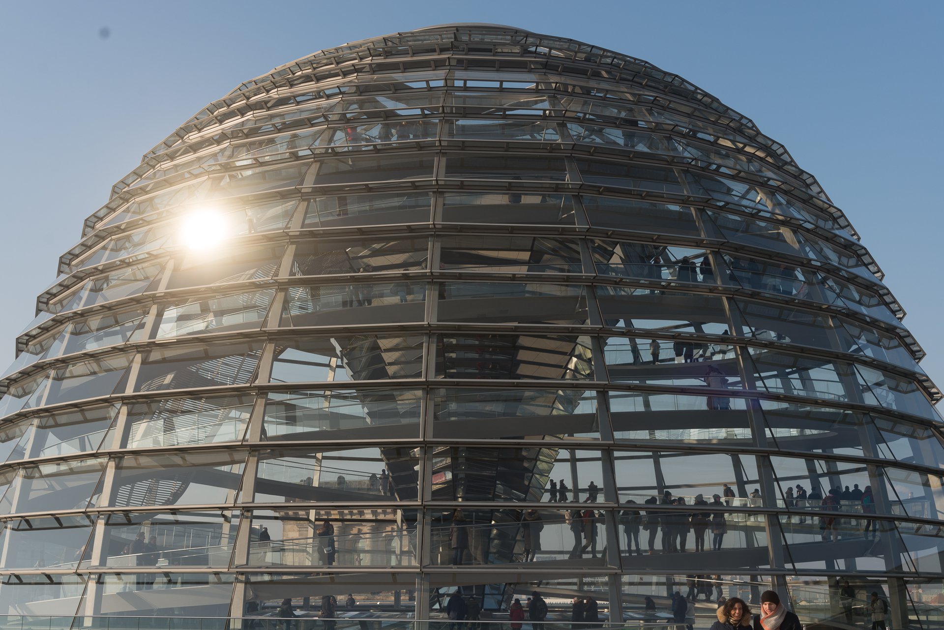 Sun reflecting off the glass dome on top of the German Bundestag in Berlin, Germany