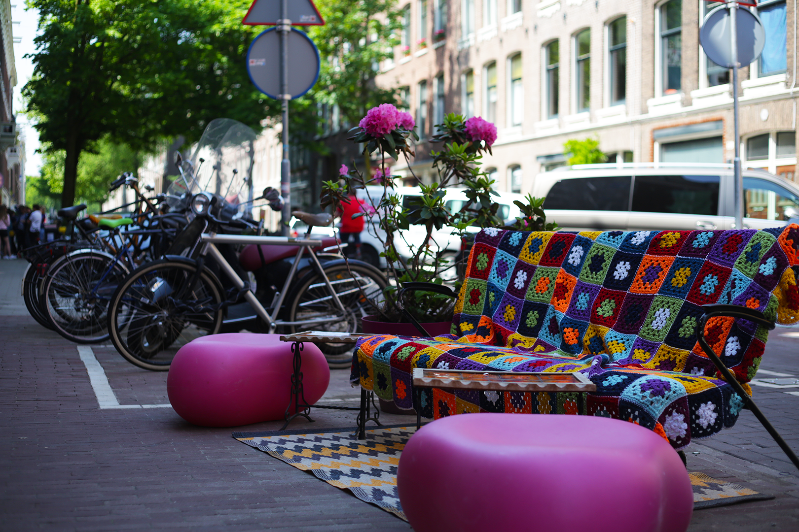 Colorful neighborhood street furniture across from Marie Heinekenplein, Amsterdam, the Netherlands